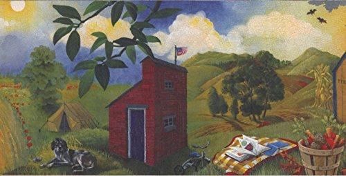 Retro Art Land Seite Gemüse und Obst Eimer Häuser Halloween Kürbis Rolling Hills Wallpaper Grenze Retro-Design, 15' x 9