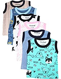 Tinchuk Sleeveless T-Shirt Hero Print Pack of 6 for Little Rockstar Multi-Color Assorted