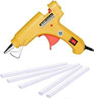 GLUN20W 20WATT Mini Yellow 7 MM HOT MELT Glue Gun with 5 Sticks (Yellow, 5)