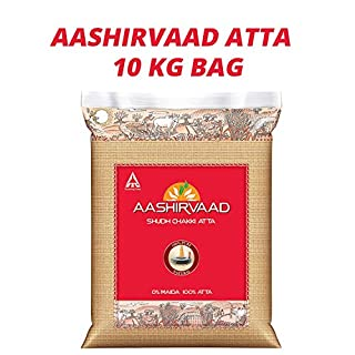 Aashirvaad Atta | 100% Atta | Traditional Chakki-Grinding Process | Choicest Grains | Wholesome Goodness | Superior Chakki Atta | Whole Wheat | Vegetarian | 10KG Bag
