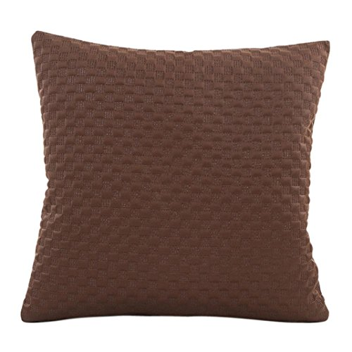 Kavitoz Pillow Sofa and Luxury Waist Throw Pillow Case Solid Colour Home Bed Decor Cushion Cover Case (Brown)