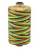 AMANN SABA® Multicolor-Garn mit Farbverlauf - 9710. neonfarben, Stärke 30, 300 Meter Rolle | Nähgarn Polyestergarn