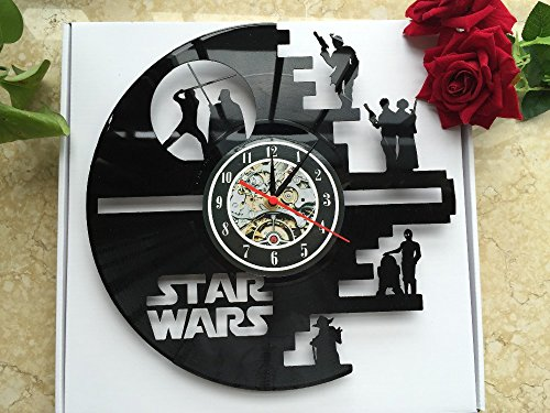 51vKf4JJGWL - Meet Beauty Vinyl Star Wars Death Star diseñado Reloj de Pared LP Record -Decorate tu hogar con Moderno Grande Darth Vader Classic Vintage Art 30CM Círculo Negro