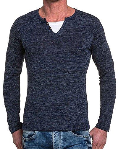 BLZ jeans - Ende Pullover Mann Marine V-Ausschnitt Blau