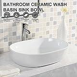UEnjoy Oval Waschbecken-9800 Design Waschschale Aufsatzwaschbecken Weiß