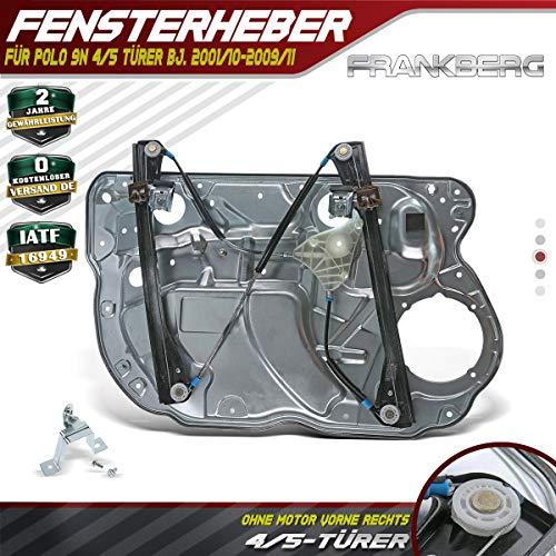 Fensterheber Mit Metallplatte Ohne Motor Vorne Rechts für Polo 9N 4/5 Türer 2001-2009 6Q4837462