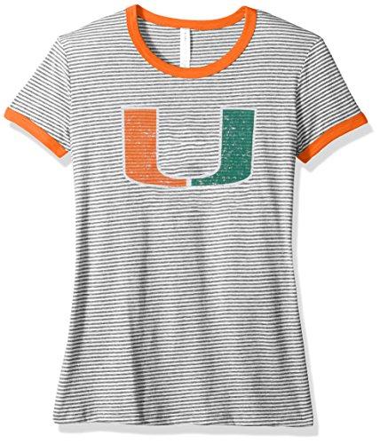 NCAA Miami Hurricanes Damen Tri Blend Retro Streifen Ringer Shirt, X-Large, Orange