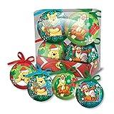 Set mit 4 Weihnachtskugeln, Motiv Disney Winnie Puuh, rosa