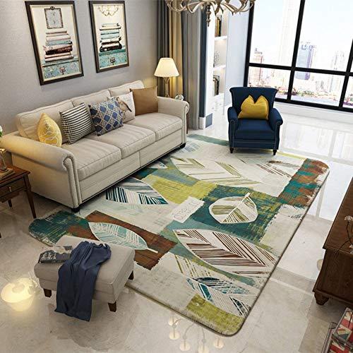 Moderne zeitgenössische, Luxus Designer Wohnzimmer Schlafzimmer Nachtteppich,Gestreifte Blätter, 120 * 180cm -