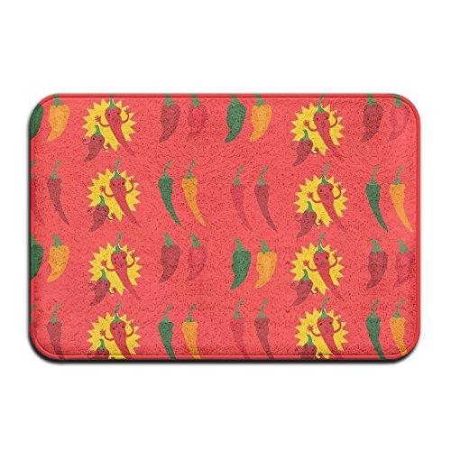 Weichem rutschfestem Hot Peppers Chili Badteppich Coral Teppich Fußmatte Eingang Teppich Fußmatten für Vorderseite Außen Türen Eintrag Teppich 40x 60cm.