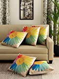 #1: Romee multicolor Polyester Jute Fabric California flower Print Cushion Cover 16