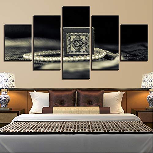xzfddn Leinwand Hd Drucken Malerei Für Wohnzimmer Dekor 5 Stücke Islam Heiligen Quran Bilder Wandkunst Muslim Koran Poster Modulare 20X35/45/55Cm,No Frame