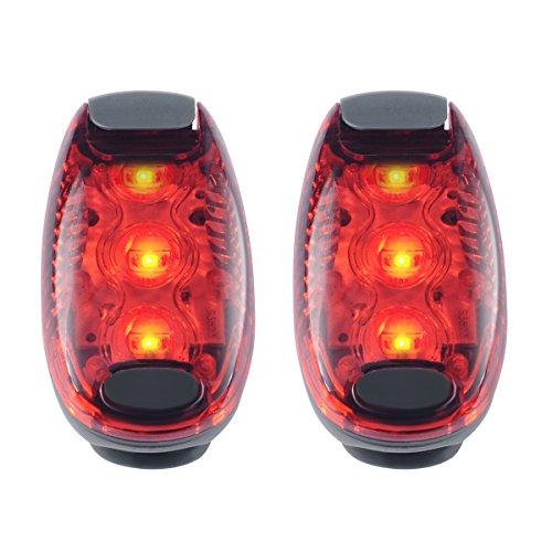 Iregro impermeabile rosso LED luce di sicurezza (confezione da 2) con clip e chiusura in velcro per corridori, cani, bici e camminare, i migliori accessori ad alta visibilità per la vostra sicurezza