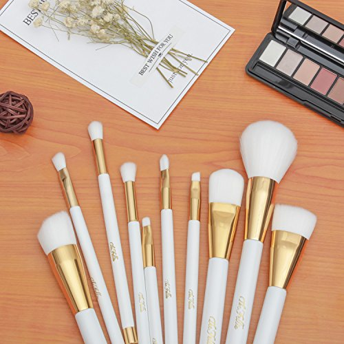 TheFellie Makeup Brush Set, Professional Foundation Blending Blush Concealer Eye Face Liquid Powder Cream Cosmetics Makeup Brushes, White Gold 10 Pieces