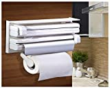#8: Forever 3 in 1 Triple Paper Dispenser for Cling Film Wrap, Aluminium Foil and Kitchen Roll 3 in 1 Wrap Center Holds Silver Foil, Plastic Wrap, and Paper Towels