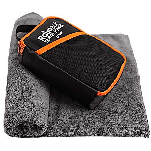 Rainleaf spielraum-tuch, schnell trocknend handtuch, backpacking handtuch, badehandtuch, saugfähiges tuch, workout-handtuch 33''x59 '' grau