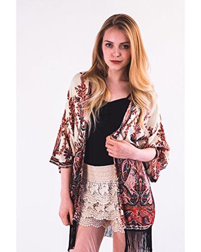 Lady Paisley Azteken Print Baumwolle Fransen Kimono Cardigan Top Urlaub Strand tragen, Beige - Rot, one_size (Paisley Print Top)