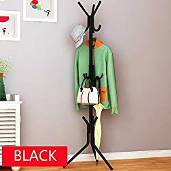 House of Quirk wrought iron coat rack hanger creative fashion bedroom for hanging clothes shelves, wrought iron racks standing coat rack - Black