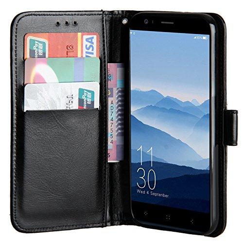 Raiphy Leder Brieftasche Hülle für Elephone P8 Mini,Telefon schützender lederner Fall mit Einem Einbauschlitz und Standfunktion (Schwarz)