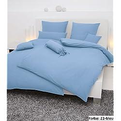 Janine Mako Soft Seersucker Bettwäsche in 19 Uni Farben 200x200 + 2 x 80x80 in bleu