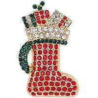 Da.Wa Calcetines de Regalo de Navidad Botas Broche de Aleación Broches Mujeres Pin Fiesta de Navidad Regalo Decoración Rojo