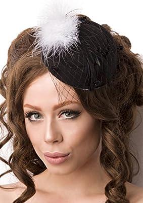Schwarz Weißer Damen Minihut Filzhut Trachtenhut mit Netz und Federn Abendmode Verkleidung Fascinator