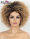 K'ryssma Kurzhaarperücke, Kunsthaarperücke mit dunkelbraunen Wurzeln, blond, Ombre-Perücke, für schwarze Frauen, vollmaschinell gefertigt, blond, lockig