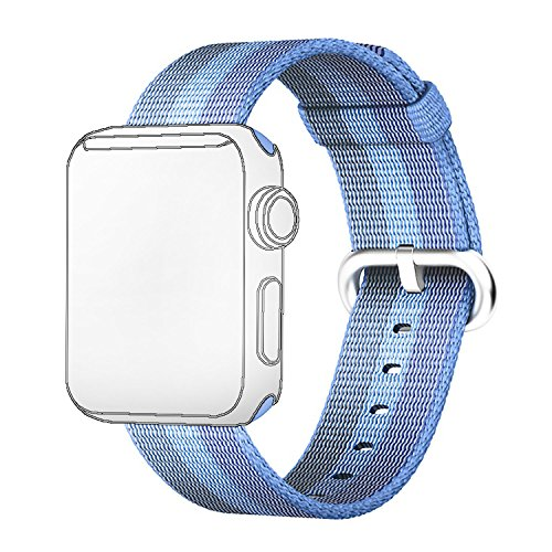 Fashion de color tejida pulsera de tejido de nylon correa de reemplazo banda correa de muñeca para Apple Watch iWatch 38 mm 42 mm, color Lake Blue 38mm