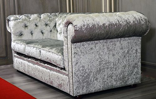 New Luxus Chesterfield Stoff Shimmer Silber 3-Sitzer-Sofa - 4