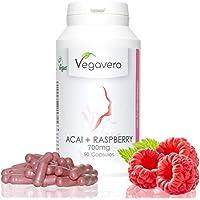 Acai + Himbeer (Raspberry) Vegavero   45-Tage-Kur   21.000 mg Acai und 700 mg Himbeer pro Tagesdosis - HOCHDOSIERT   Vegan und OHNE chemische Zusätze   90 Kapseln