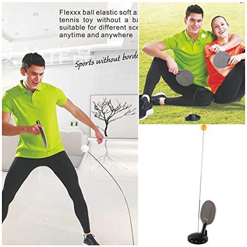 Professionelle Pingpong Ball Training Maschine Elastische Soft Shaft Trainings Requisiten mit Schläger und Basis, Spiele für draussen VNEIRW (Schwarz) ()