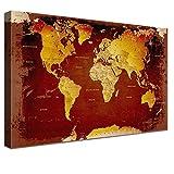 LANA KK Weltkarte Leinwandbild mit Korkrückwand zum pinnen der Reiseziele Deutsch Kunstdruck, nostalgie, 120 x 80 cm