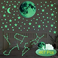 Glow in The Dark Stars Wall Stickers, 467pcs Luminous Star, Moon and Luminous Strip, Perfect for Kids Bedroom Ceiling Wall Decor