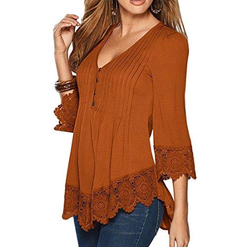 Shinekoo Damen Langarmshirt Plus Gr??e Tops V-Ausschnitt Einfarbig Aufdruck Spitze T-Shirt Locker Faltenbluse Bluse Rost