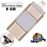 USB Flash Drives for iPhone 8GB, LU2000 i-Flash U-Disk Phones Memory Storage Jump Drive Lightning U FlashDrive Stick External Storage Memory Extension for Apple IOS Android Computers - Gold