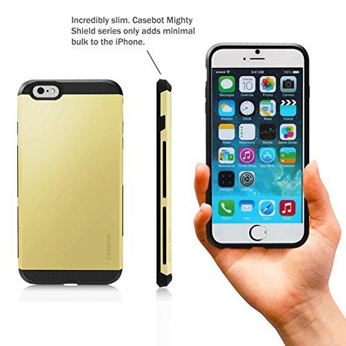 Fintie iPhone 6 Plus (5.5 Zoll) Hülle Zwei-Schicht schlank Schutzhülle Tasche Case -[CaseBot Serie] Preimiun rutschfest Cover Rückschale für iPhone 6 Plus 5.5 Zoll, Schwarz Golden