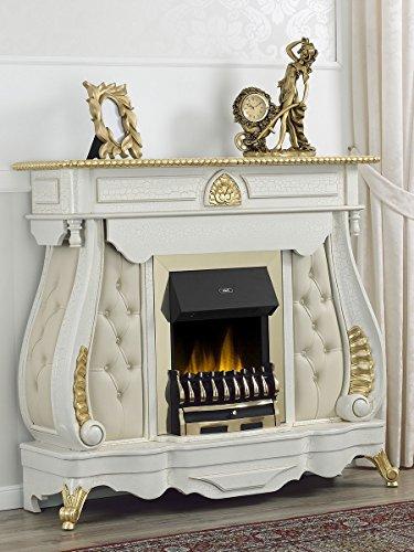 Camino elettrico Barocco crackle particolari foglia oro marmo crema ecopelle champagne bottoni Swarovski