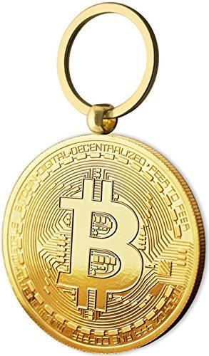 Physische Bitcoin Medaille als Schlüsselanhänger mit Echt-Gold überzogen. Wahres Sammlerstück mit Schlüsselring. EIN Muss für jeden Bitcoin-Fan -