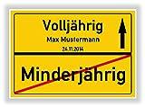 ORTSSCHILD Bild VOLLJÄHRIG - MINDERJÄHRIG Geschenkidee zum 18. Geburtstag ORTSEINGANGSSCHILD