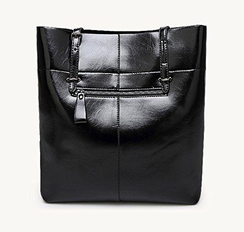 Auspicious beginning Frauen-Normallack-einfache Art-einzelne Schulter-Taschen-Tasche Schwarz