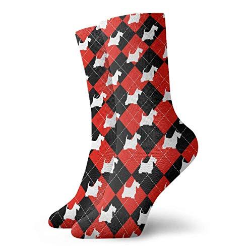 Estrange Scottish Terrier Dog Buffalo Plaid Pattern Short Crew Socks Casual Athletic Sports Crew Tube Socks For Men&Women