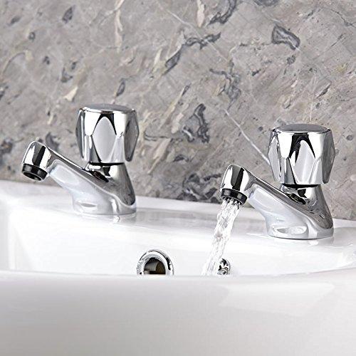 Hudson Reed CD301 - Par de Grifos 'Rila' Para Lavabo (Agua Caliente & Agua Fría) - Latón Cromado - Sistema Rosca Tradicional - Batería Sobre Repisa - Grifería Para Baño Moderno