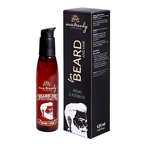 One&Only Cosmetics Bartöl & Haaröl, Bartpflege aus Arganöl & Jojobaöl, Pflegeöl ohne tierische Inhaltstoffe, 1er Pack (1 x 125 ml)