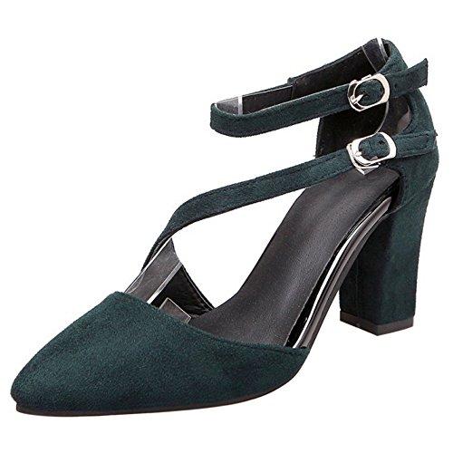 COOLCEPT Damen Mode Knochelriemchen Sandalen Blockabsatz Geschlossene Schuhe Grun