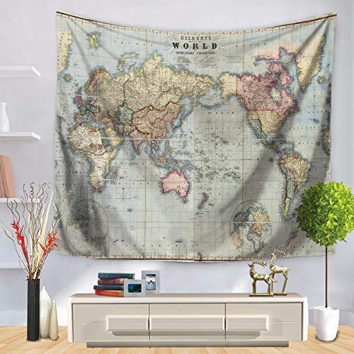 Hängende Tapisserie Tapisserie nautische Weltkarte gedruckt Wand hängen Tischdecke (Farbe: grau, Größe: 150 * 130cm) für Wandbehang Tapisserie (Farbe : Grey, Größe : 150 * 130CM)