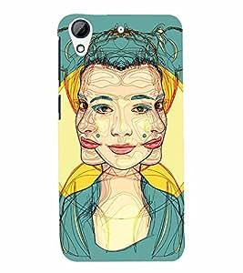 PrintVisa Stylish Cool Girl Modern Art 3D Hard Polycarbonate Designer Back Case Cover for HTC Desire 728