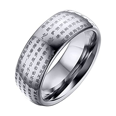 OAKKY Mens Tungsten Carbide Chinese Heart Sutra Engraved Domed Wedding