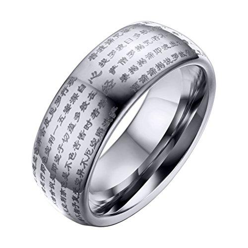 OAKKY Herren Wolframcarbid Chinesisch Herz Sutra Graviert Gewölbt Hochzeit Ringe Band 8mm Silber Größe 68 (21.6)