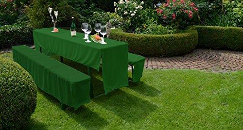 Hussen Set Festzelt Set Bierbankhussen Bierbankgarnitur in dunkelgrün 100% Polyester
