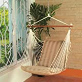 Hangit Polyester Premium Cushioned Home and Garden Hanging Swing Chair for Indoor / Outdoor (Tan)
